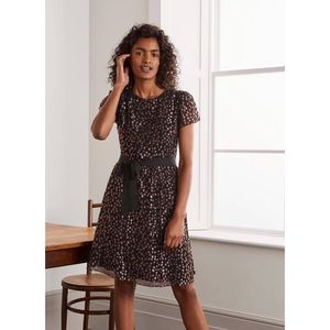 Boden Bettina Dress in Black and Copper Spot NWT